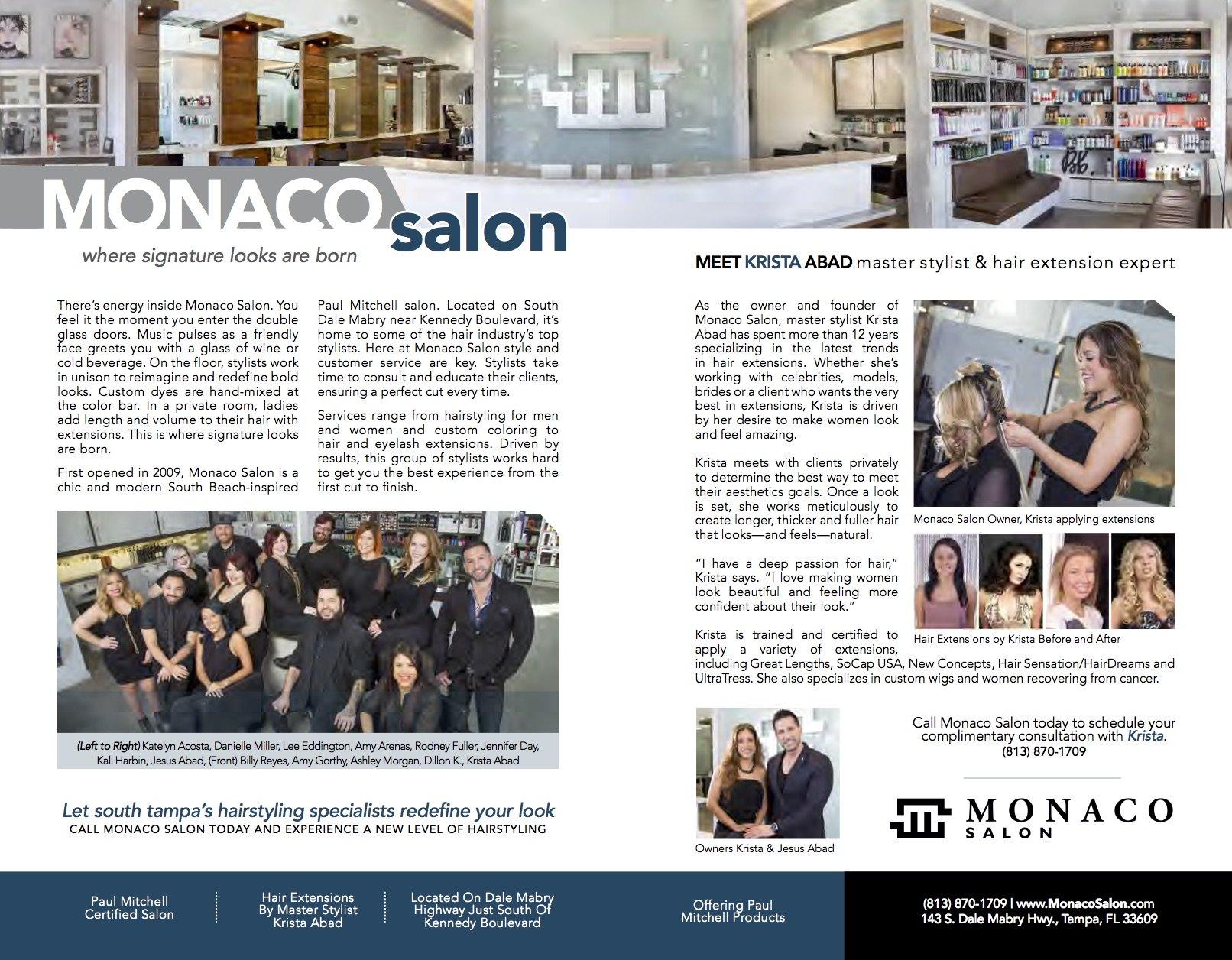 Monaco Salon featured in South Tampa Magazine!