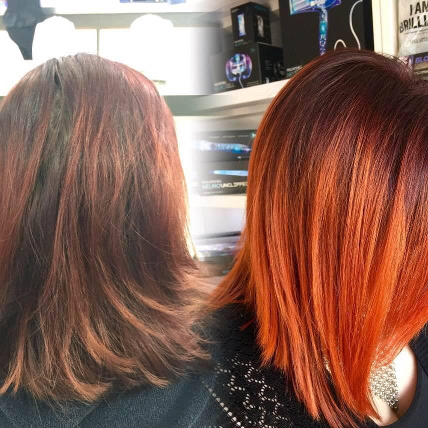 red hair Balayage, Hand Painting Monaco Salon Tampa