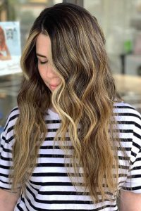 hand painted highlights brunette tampa