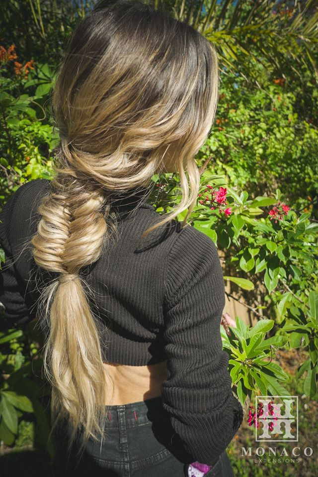 hand tied extensions finished in braid at monaco salon tampa st pete